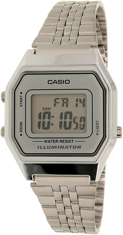 Casio Ladies Mid-Size Silver Tone Digital Retro Watch LA-680WA-7DF * For more information, visit image link.