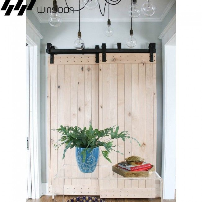 Winsoon 4 16ft Bypass Sliding Barn Door Hardware Double Track Kit Bent New Bypass Barn Door Hardware Double Sliding Barn Doors Bypass Barn Door