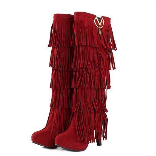 Women Platform Tassel Knee High Boots