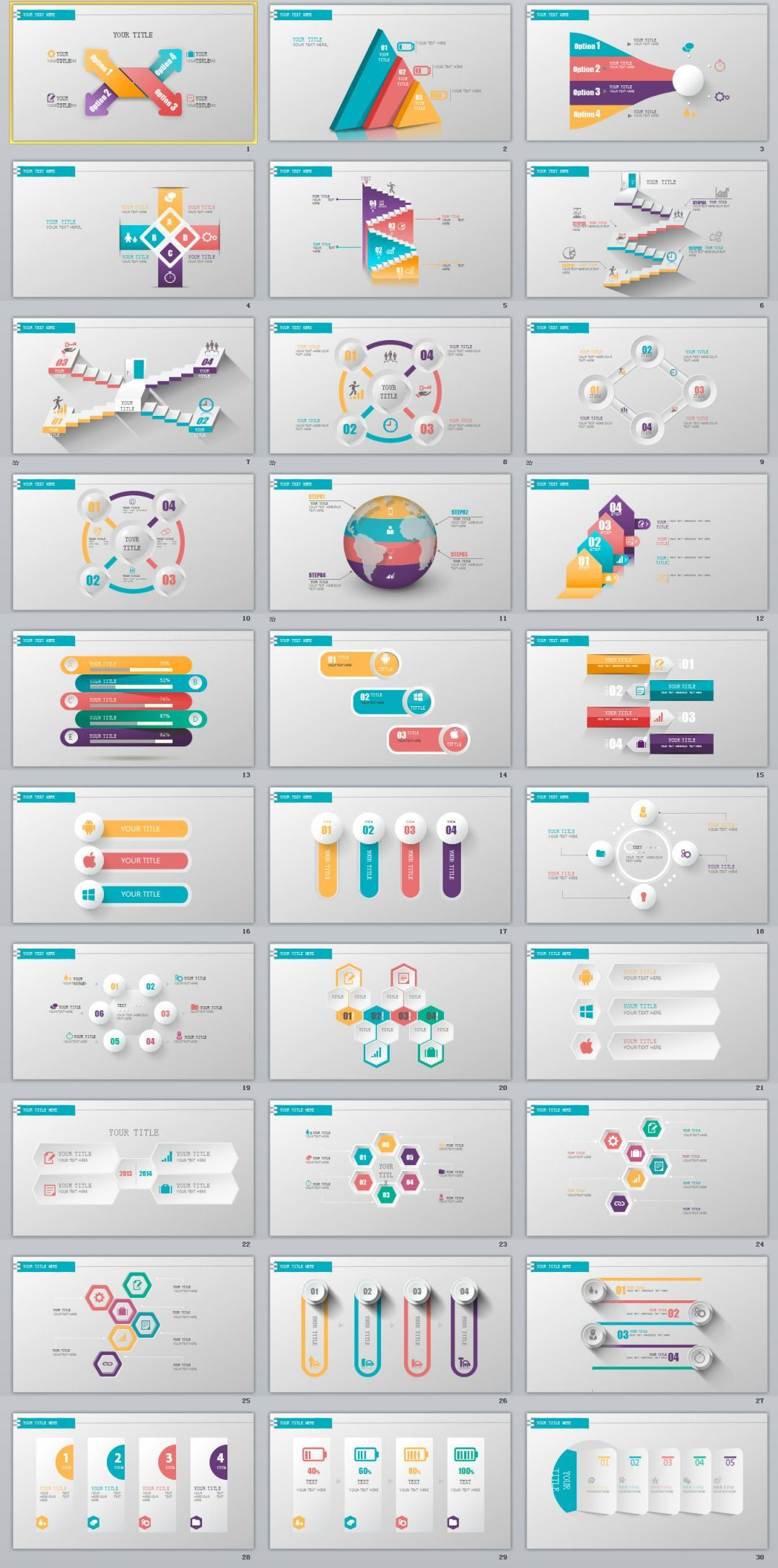 30+ three dimensional charts PowerPoint template | Business company ...
