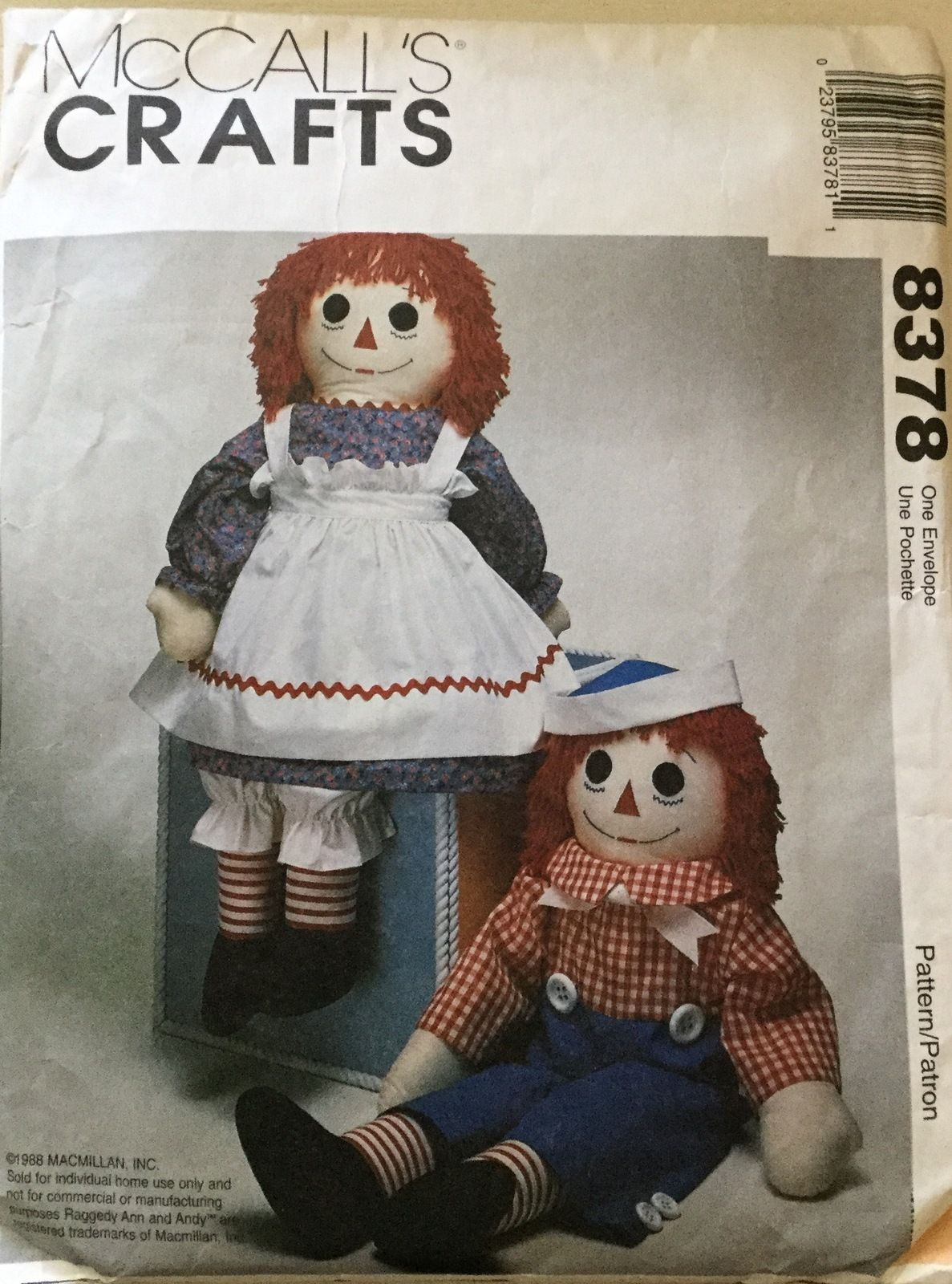 CHOICE UNCUT McCall/'s Sewing Patterns Dolls Dollmaking Raggedy Ann Andy