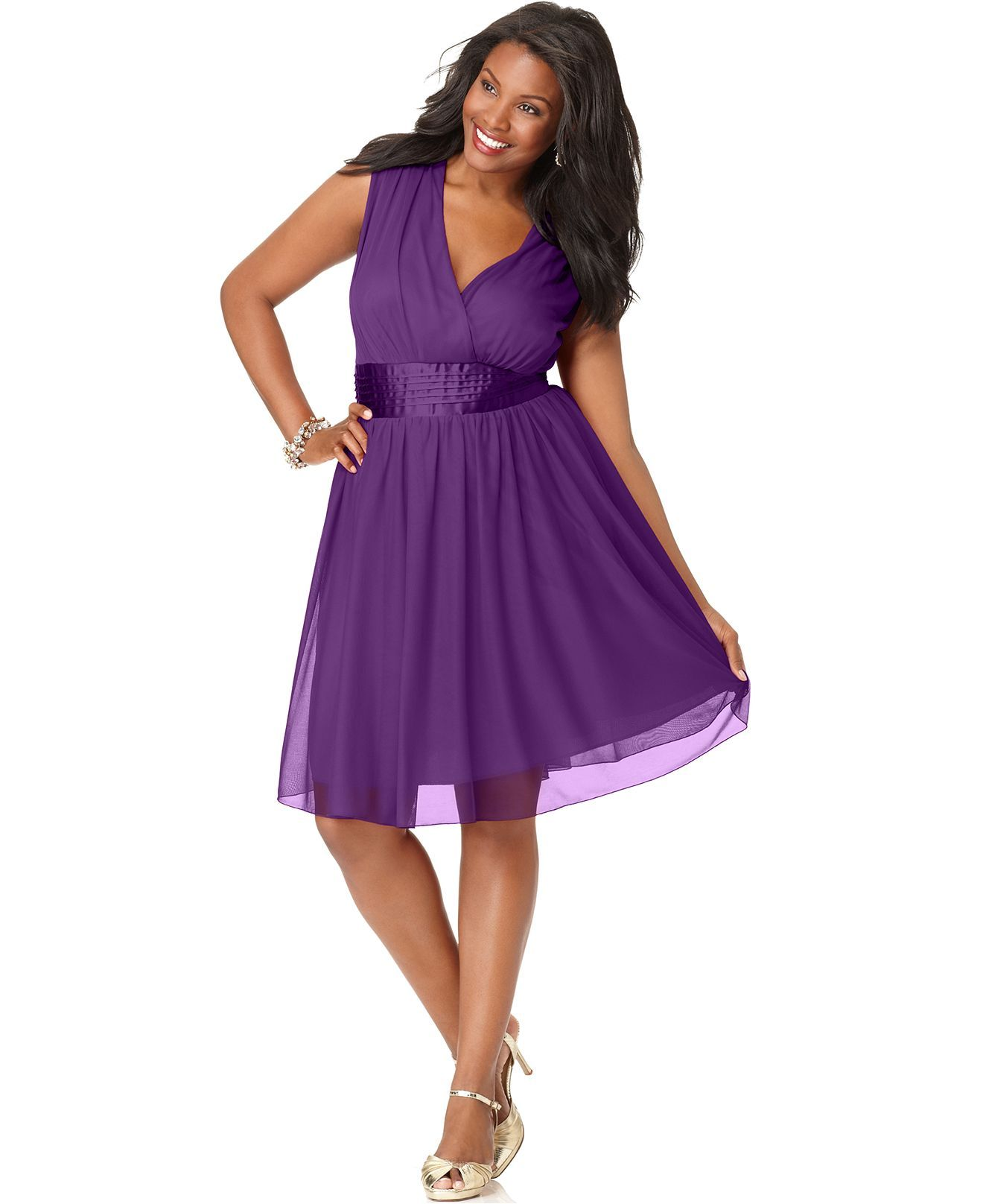 Trixxi Plus Size Dress, Sleeveless Banded Empire A-Line - Plus Size ...