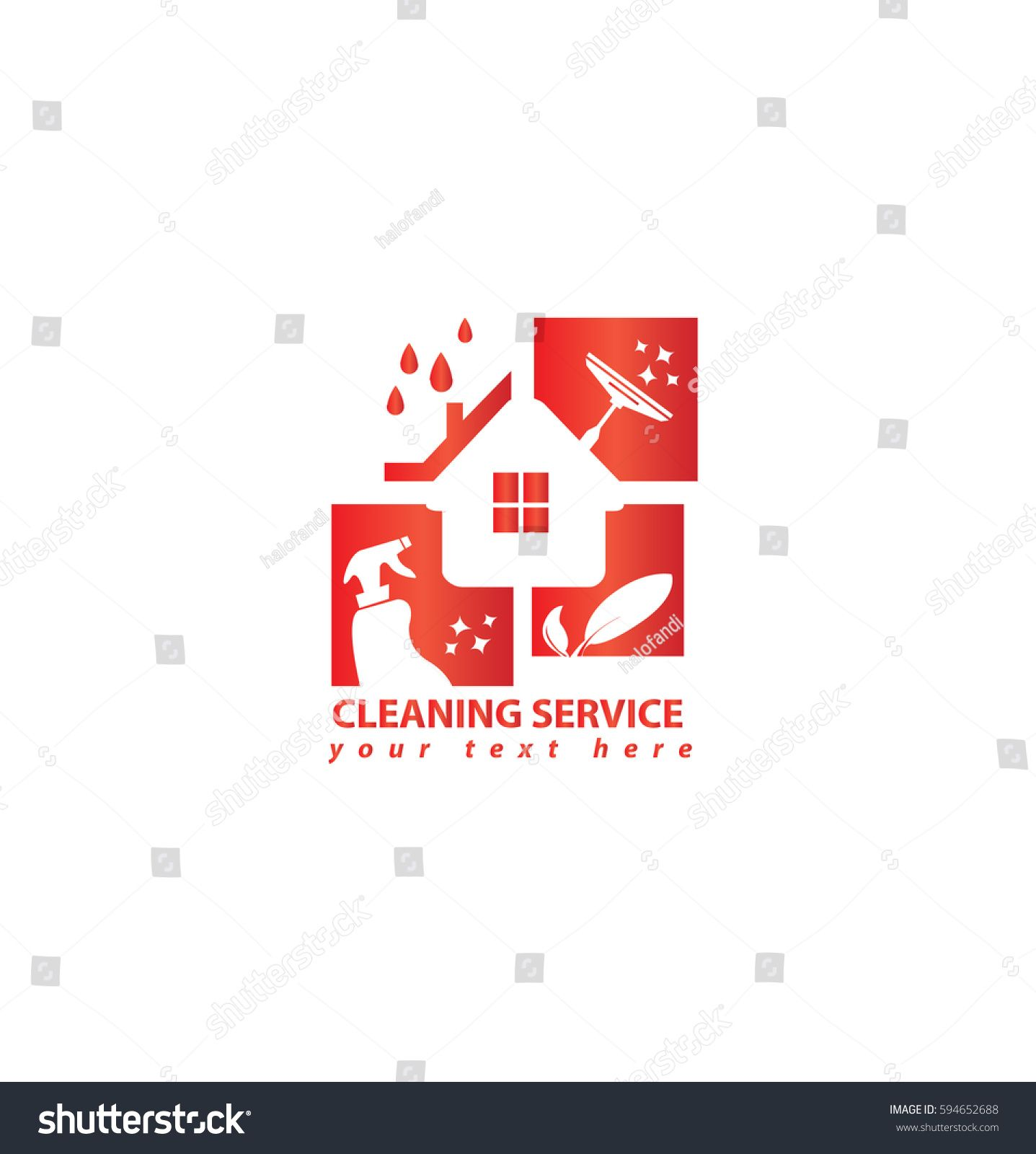 Vector Eco Cleaning Service Of House Business Logo Design In Red