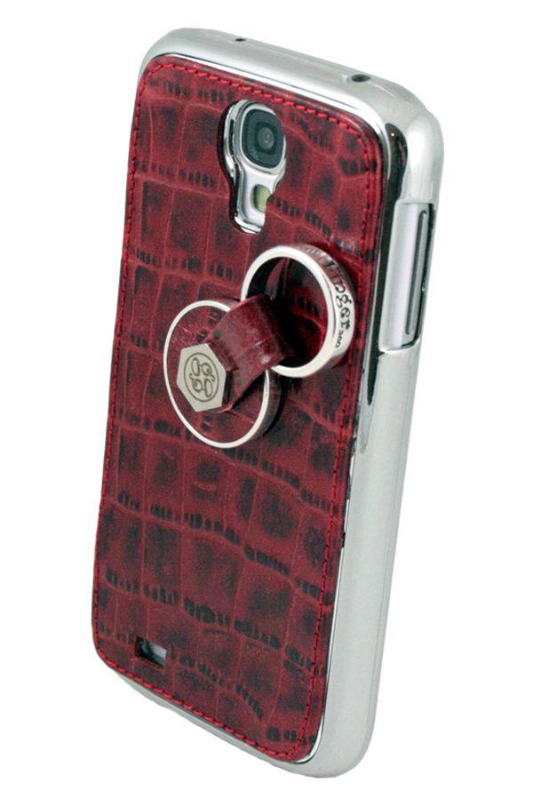 272dab7c242 Carcasa trasera para Samsung Galaxy S4 con sistema anticaídas Finger 360.  Realizada en piel auténtica de color ROJO grabado de cocodrilo.