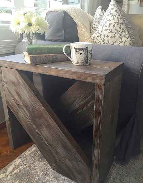 Floating Disks Side Table Rustic Side Table Modern Side Table