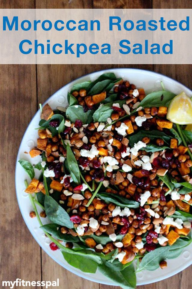 This roasted chickpea salad from The Wheatless Kitchen has bright flavors of lemon, honey, olive oil, & spices – and a healthy dose of fiber!