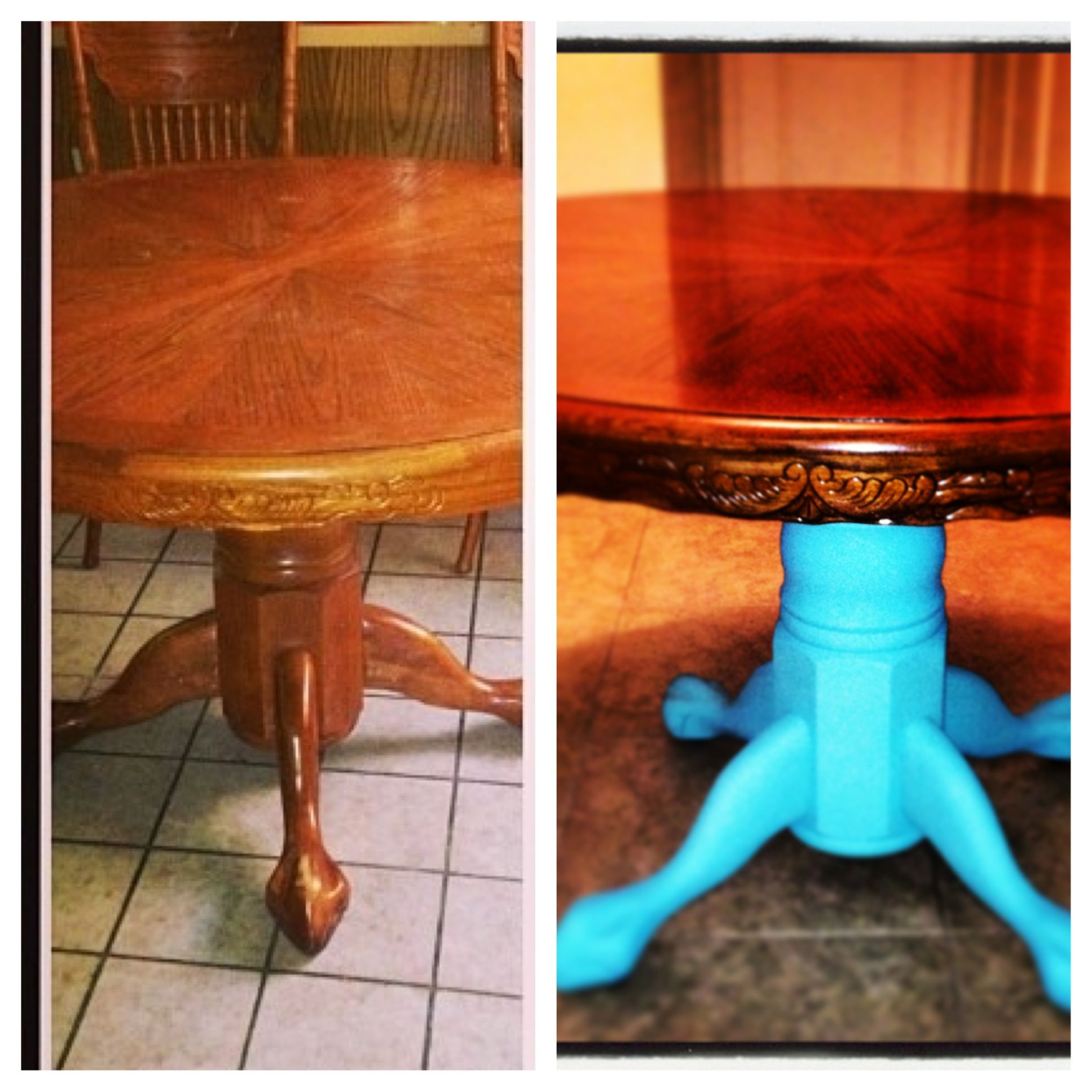 I loved my dining room table because it kinda has claw feet, but wanted to freshen it up.  I was nervous about the paint color, which was inspired by a Jelly bean and a turquoise ring I found in an antique store. I figured its just paint, I could repaint if I didn't like it. I LOVE it! And have painted other things in my house with the same paint, all with different color results! My mismatched chairs will all be painted different colors. (Pink, orange etc) I'm obsessed with boho styles.