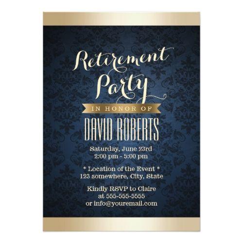 gold  navy blue damask pattern retirement party