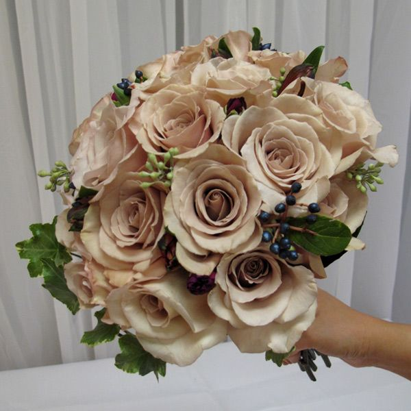 Champagne And Mocha Colored Rose Bridal Bouquet Accented With Greenery Champagne Wedding Colors Rose Bridal Bouquet Bridal Bouquet