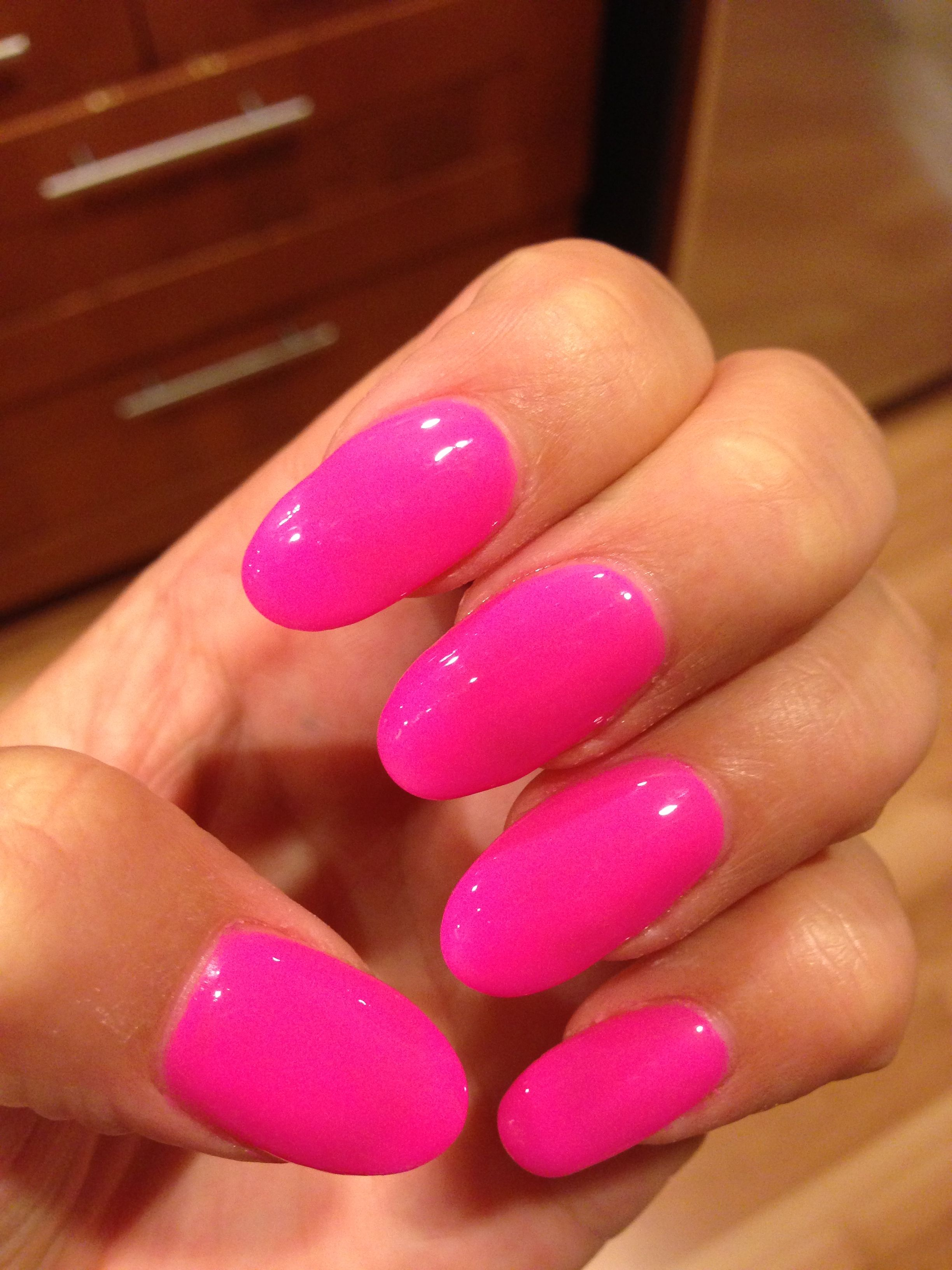 Hot Pink Rounded Nails Round Nails Nails Rounded Acrylic Nails