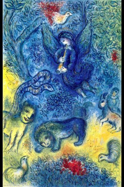 The Magic Flute, 1967 by Marc Chagall. Naïve Art (Primitivism). symbolic painting