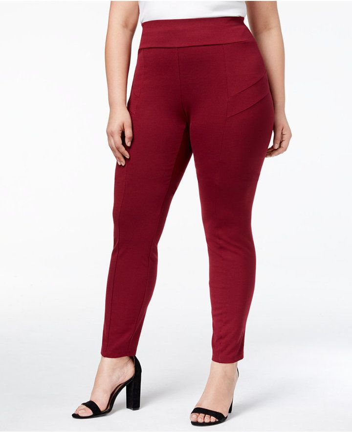 """Contrast seams and topstitching add fashion-forward detail to these stretchy plus size pants from NY Collection. A high rise adds classic comfortable coverage. High rise; slim fit through hips and thighs; skinny leg Approx. Approx. inseam: 28"""" Pull-on styling Center-front seam; decorative seams at waist Rayon/nylon/spandex Machine washable Made in USA Web ID: 5126262"""