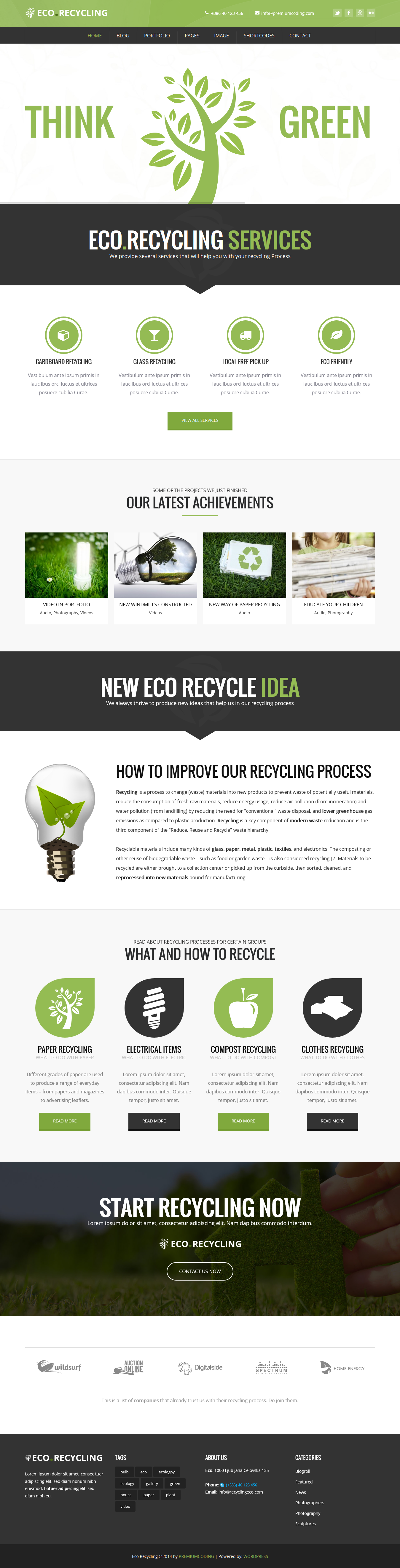 Eco Recycling - Ecology & Nature WordPress Theme | Wordpress, User ...