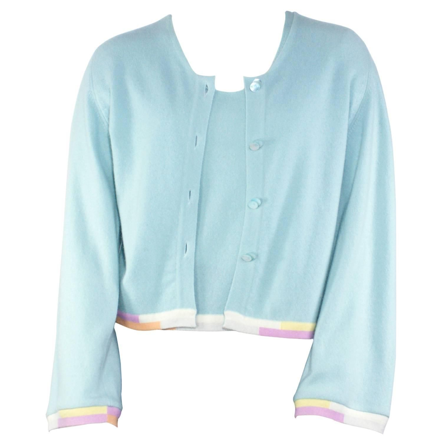 Chanel Turquoise Cashmere Two Piece Cardigan Set | Two pieces ...