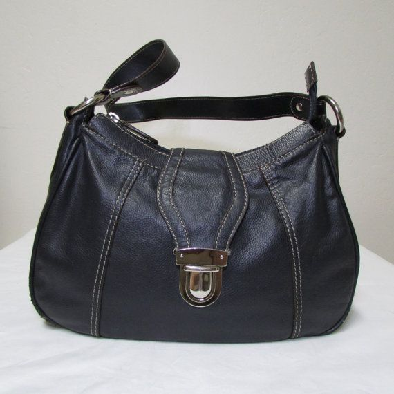 Wilsons Navy Blue Leather Handbag With Silver Slide by Coatsnmore