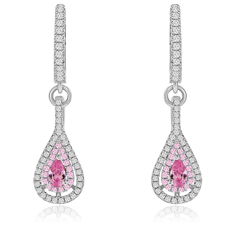 Silver Cz Teardrop Dangle Earrings With Pink Shire Center Stone