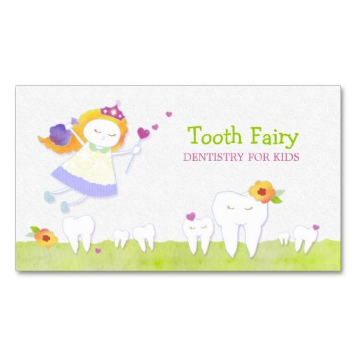 Tooth Fairy Pediatric Dentists Business Cards. Make your own business card with this great design. All you need is to add your info to this template. Click the image to try it out!