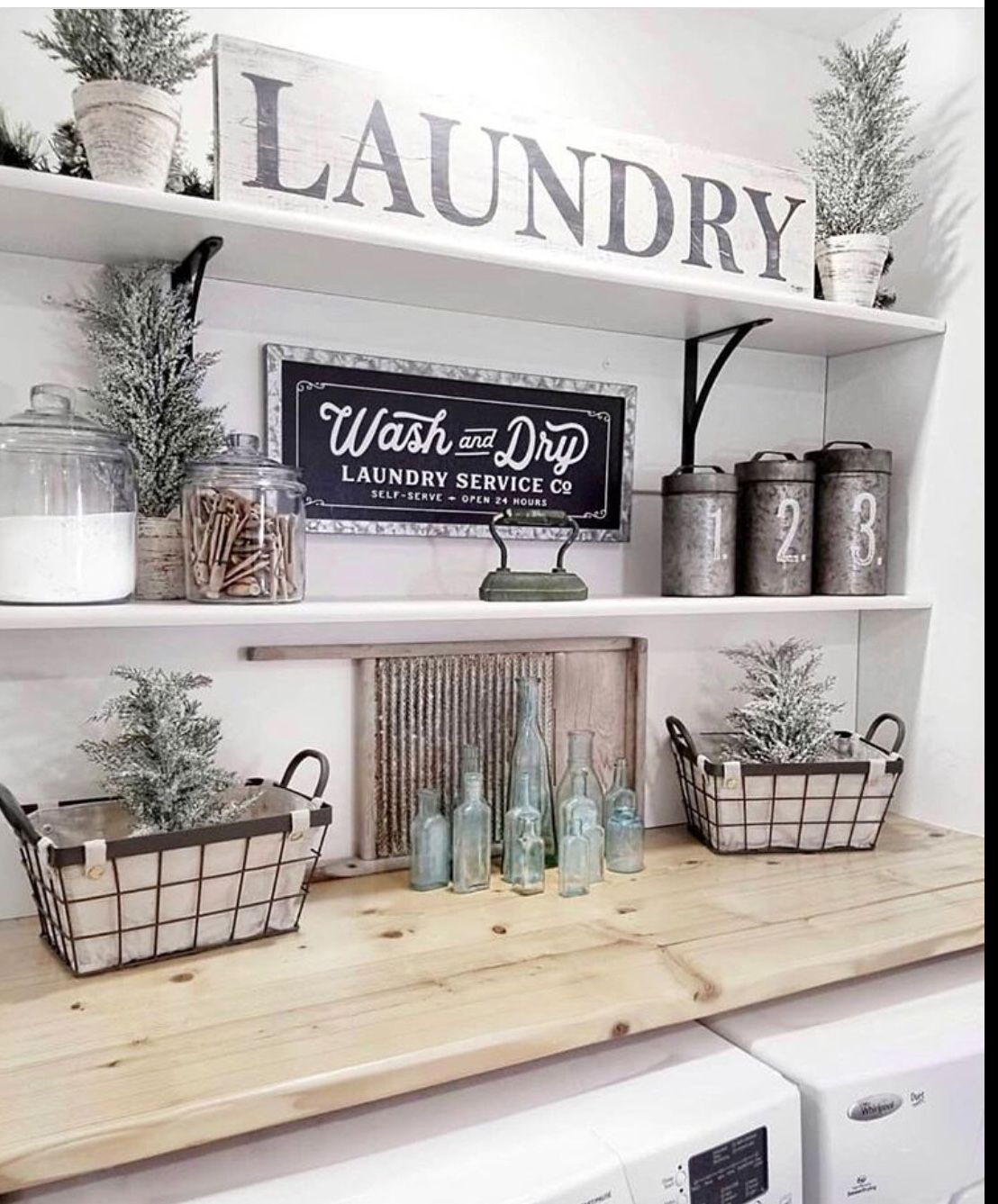 Laundry Room Wood Countertops With Laundry Signs Wash And Dry