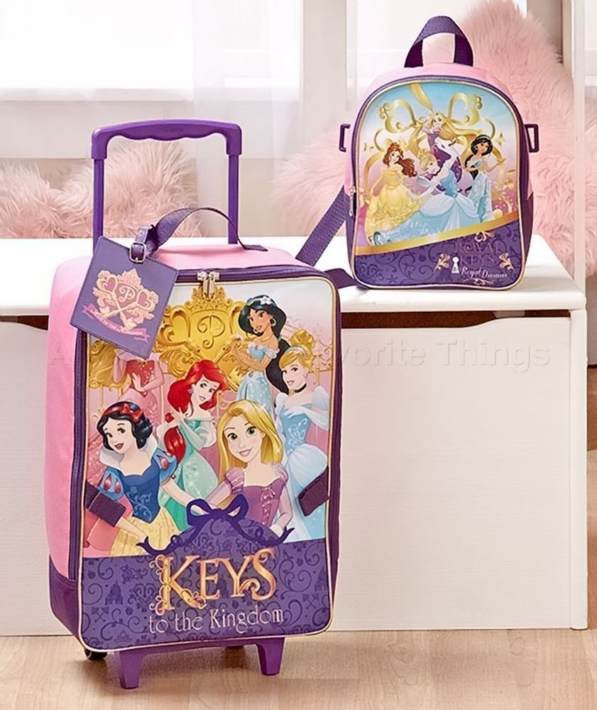 PRINCESS DISNEY 3-PC. KIDS LICENSED ROLLING SUITCASE BACKPACK & LUGGAGE TAG SET #Unbranded