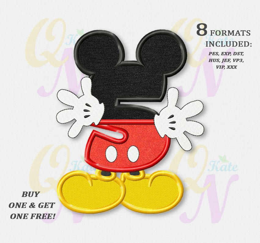 BOGO FREE! Mickey Mouse Fifth birthday Applique Embroidery Designs, Mickey birthday Machine Embroidery Designs, embroidery design baby, #080 by KateQuickNeedle on Etsy