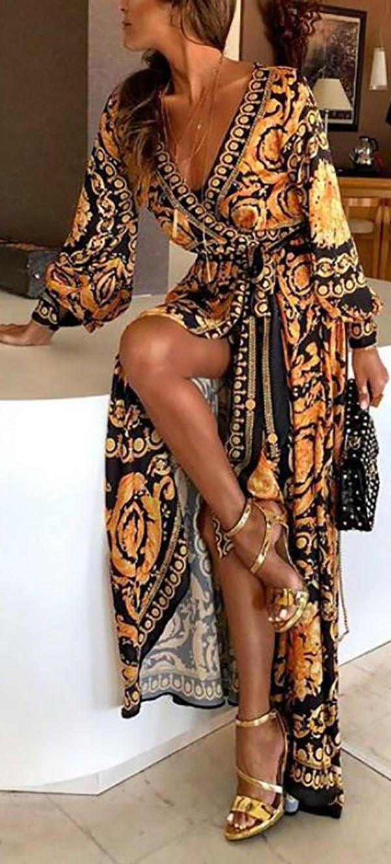 hot saleearly spring long sleeve v-neck print maxi dress