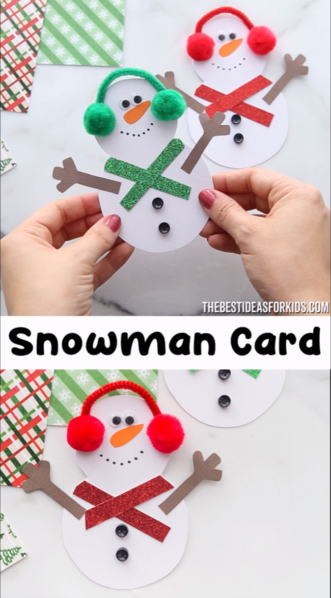 SNOWMAN CARD ⛄ - such a cute snowman craft for Christmas! Make this adorable snowman card with kids.