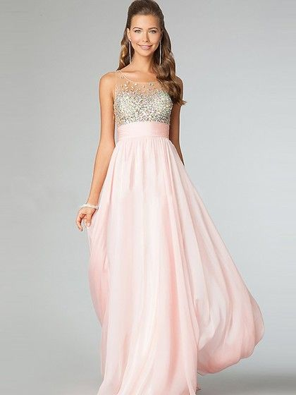 6f782303a8 Scoop Neck Pearl Pink Chiffon Floor-length Beading Girls Prom Dress ...