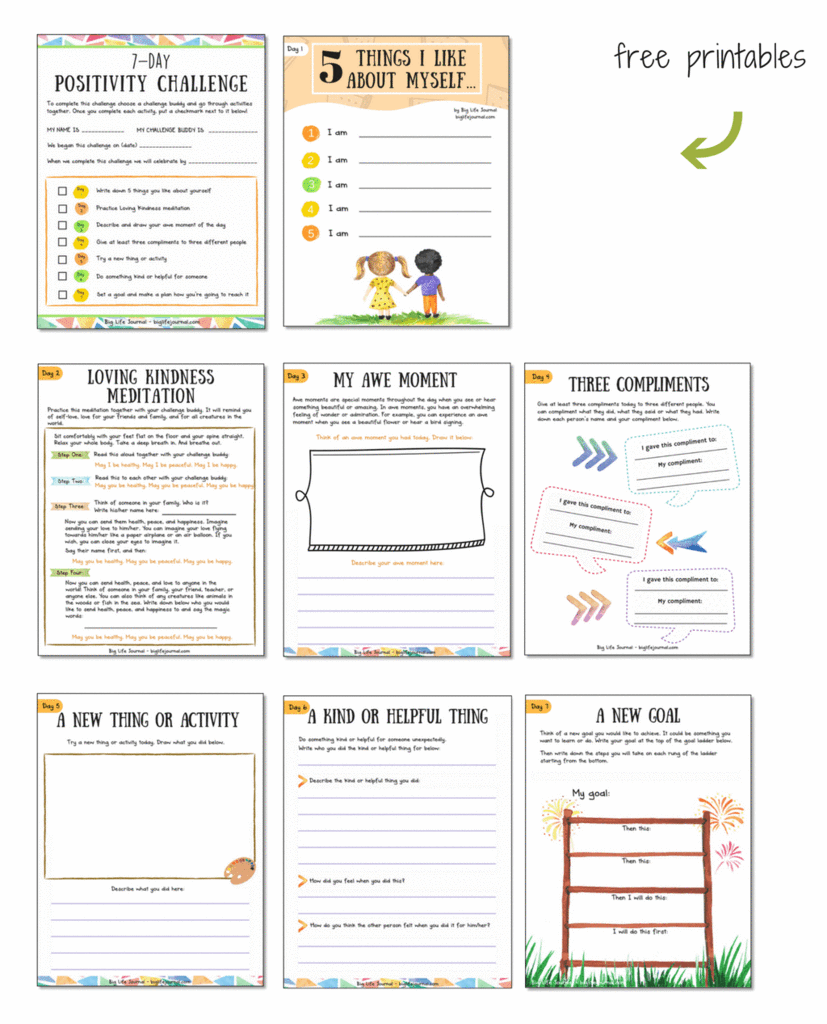 7 Day Positivity Challenge For Children With Printable Worksheets Positive Attitude Activities Positive Attitude Positivity Challenge [ 1024 x 827 Pixel ]