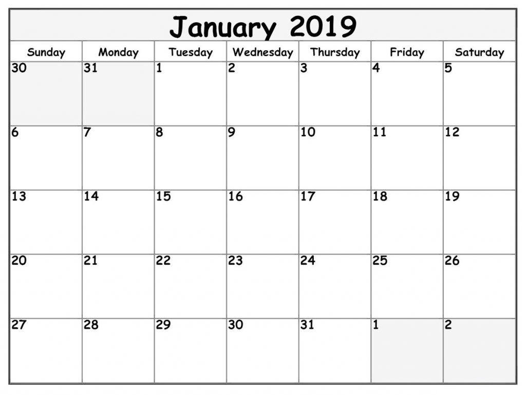 Weekly January Calendar Template