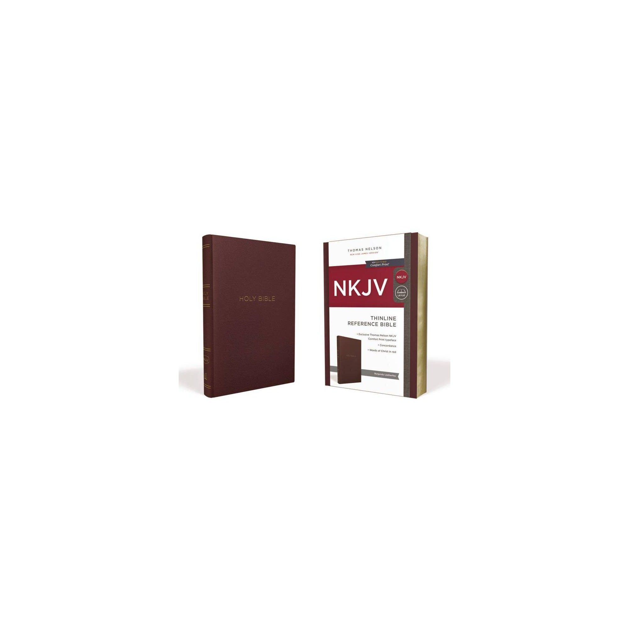 Nkjv Thinline Reference Bible Leather Look Burgundy Red Letter