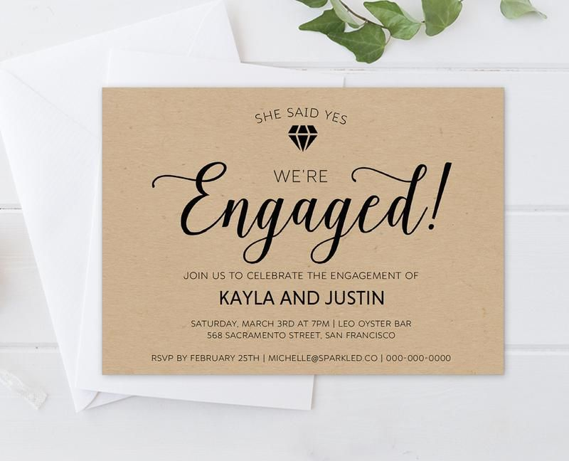 DIY Rustic Diamond Engagement Invitation Template Engagement