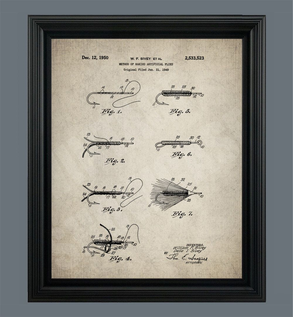 Vintage Fly Fishing Patent Poster Print
