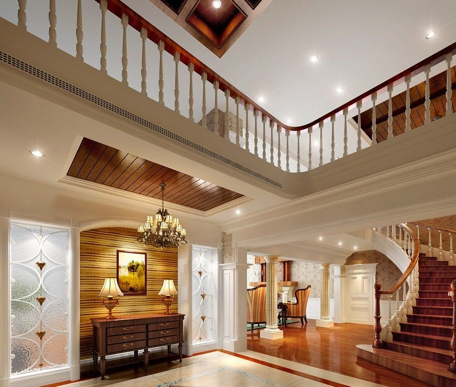 Luxurious Home Stairs Design White And Brown Space With Wooden Curved Stairs
