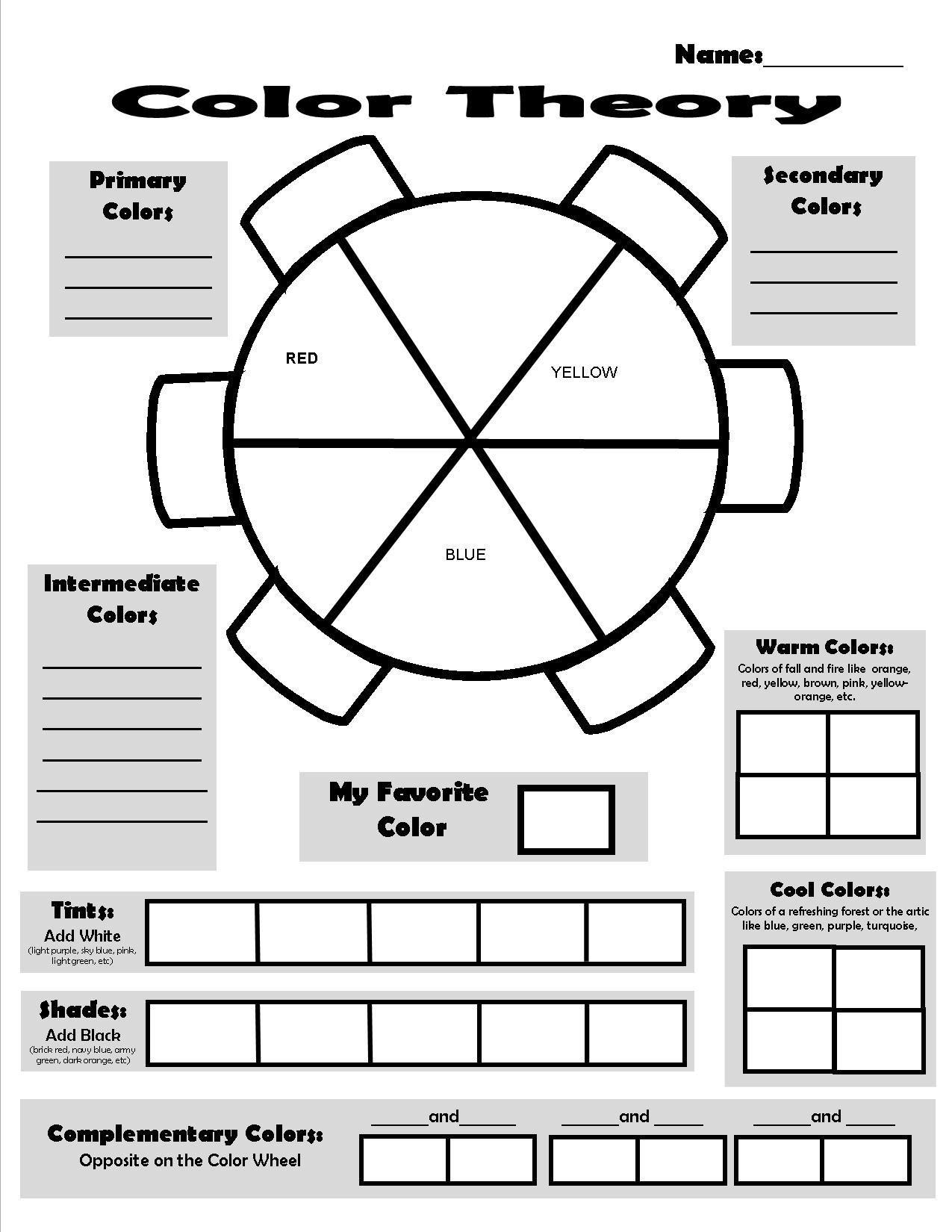 Color Theory Sheet Leer Lees Art Worksheets Art Handouts