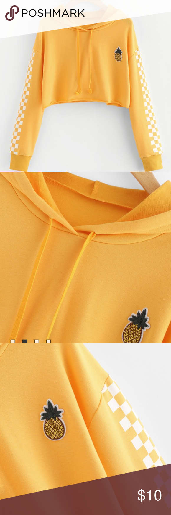 cc511768ea1 Pineapple Embroidered Gingham Crop Hoodie Pineapple Embroidered Gingham  Crop Hoodie $10.59 $27.99 (36) Color: yellow size SML ROMWE Sweaters