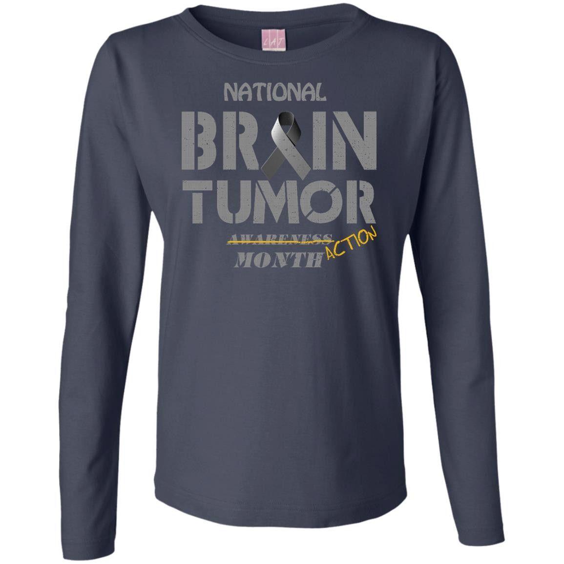 National brain tumor awareness action month Ladies' Long Sleeve Cotton TShirt