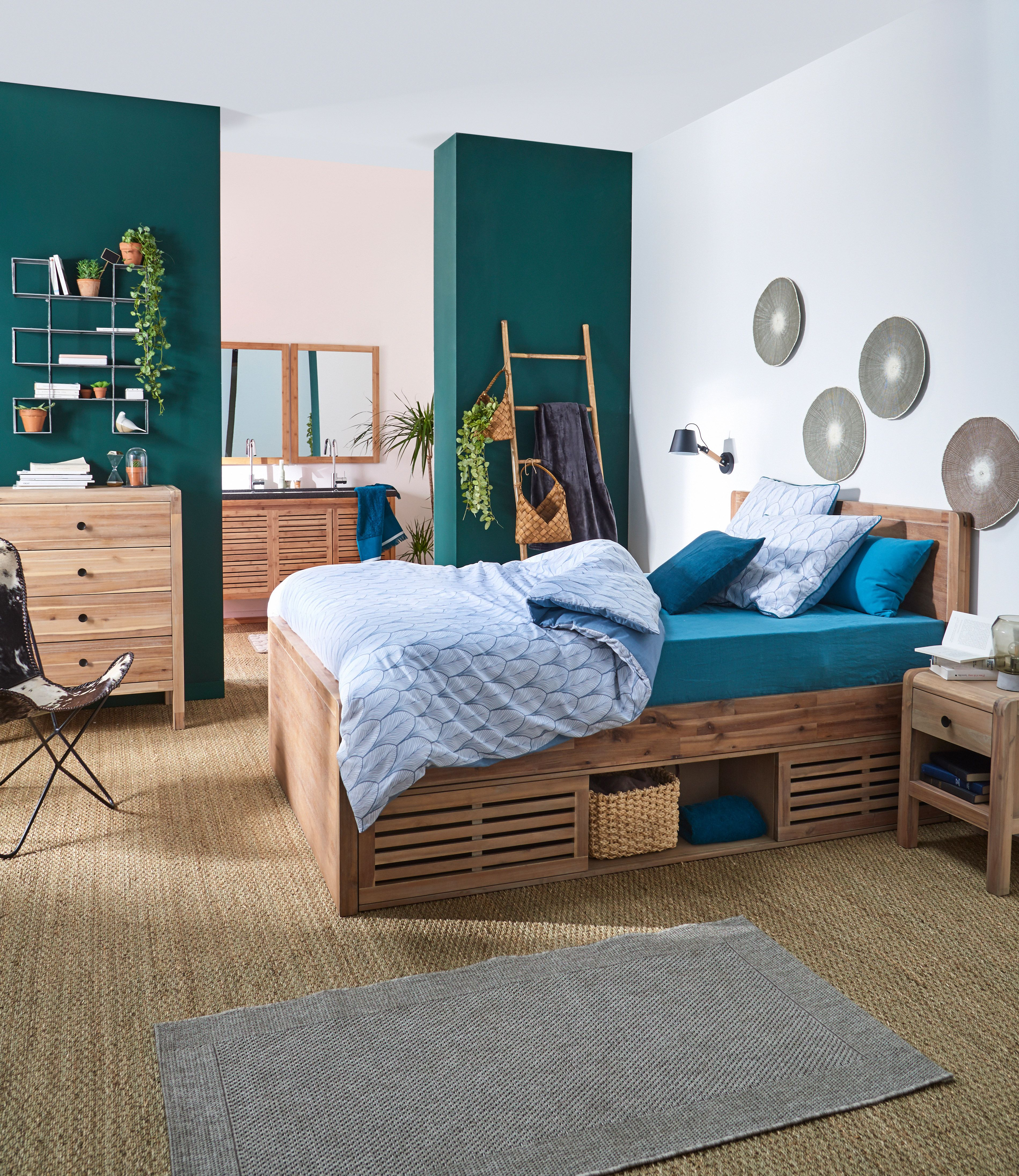 Gaia Chambre Lit 2 places en acacia avec tªte de lit 140x200cm