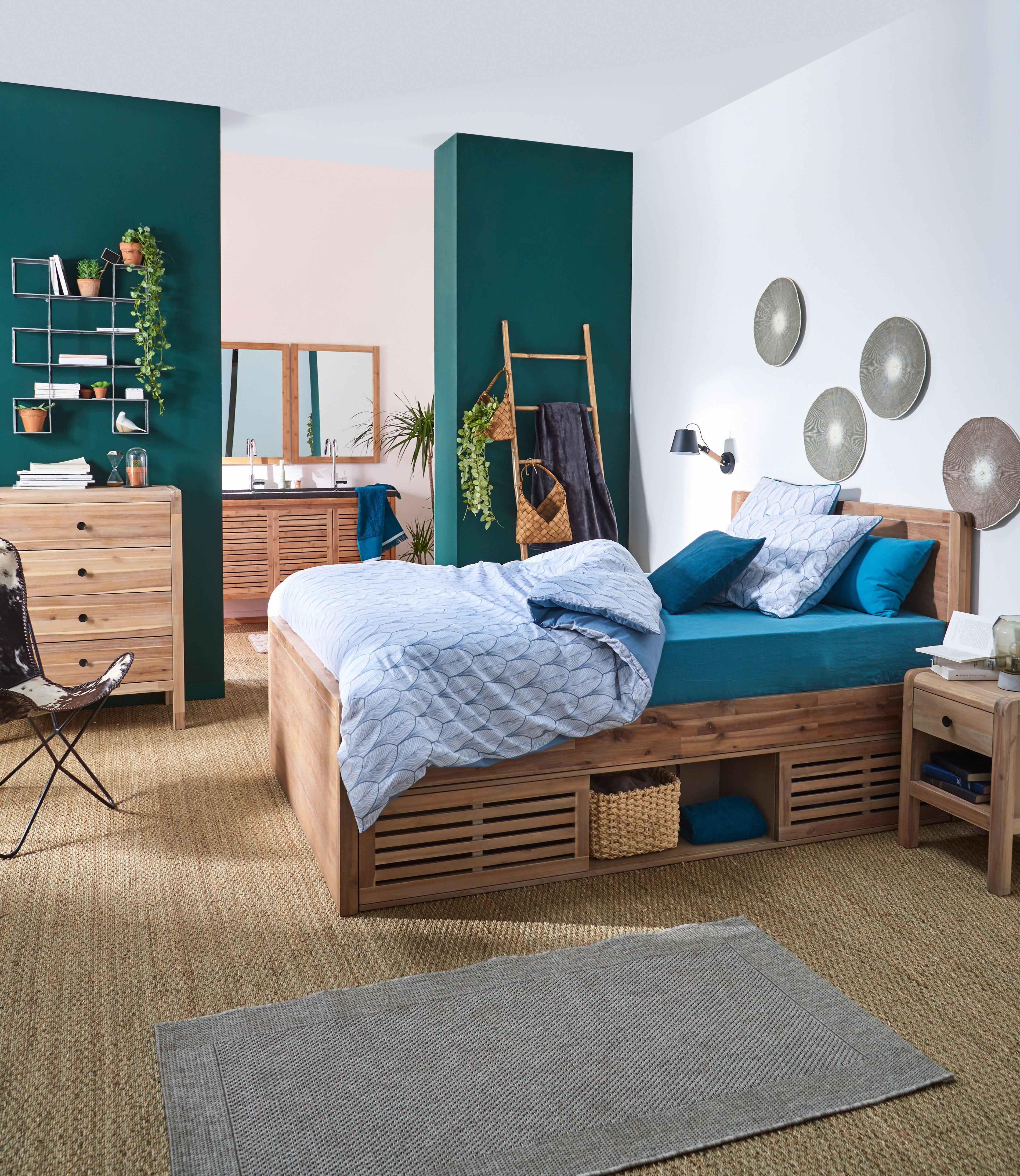 gaia chambre lit 2 places en acacia avec t te de lit alin a prendre soin de soi chambre. Black Bedroom Furniture Sets. Home Design Ideas
