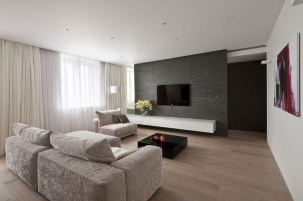 apartment moskau alexandra fedorova tv wand naturstein | zuhause, Wohnzimmer