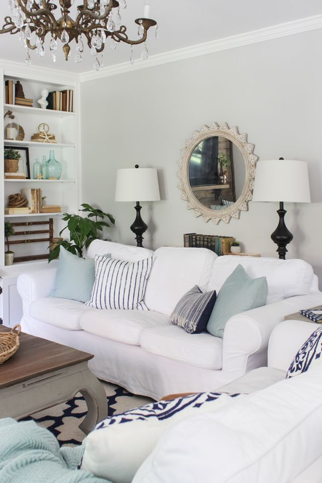 White slipcovered sofas with aqua and navy accents in summer living ...