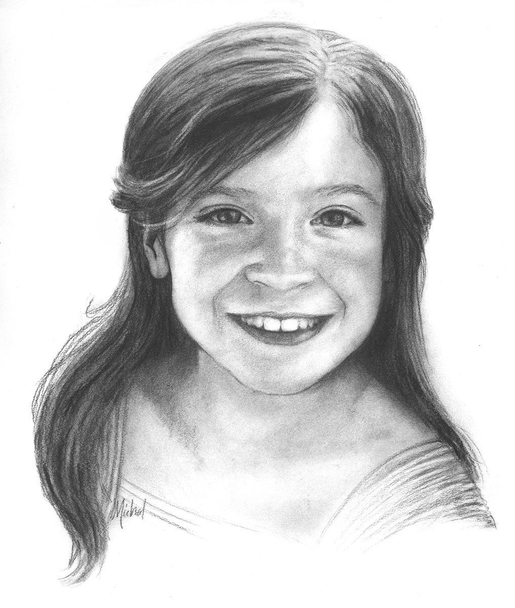 Custom conte pencil portrait drawing of girl on paper 18 x 24 my