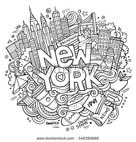 Cartoon cute doodles hand drawn New York inscription. Sketch ...