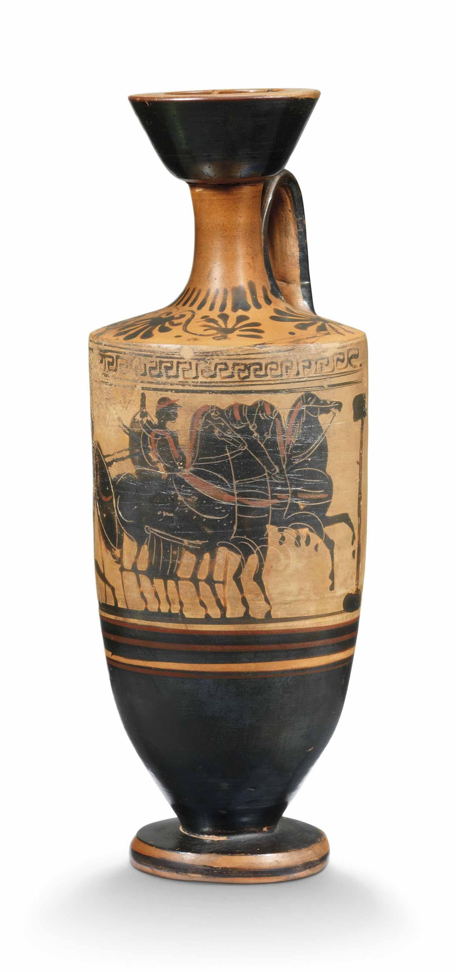An Attic Black Figured White Ground Lekythos Circa 500 B C Ancient Art Antiquities Vases Christie S Greek Pottery Greek Vases Ancient Pottery
