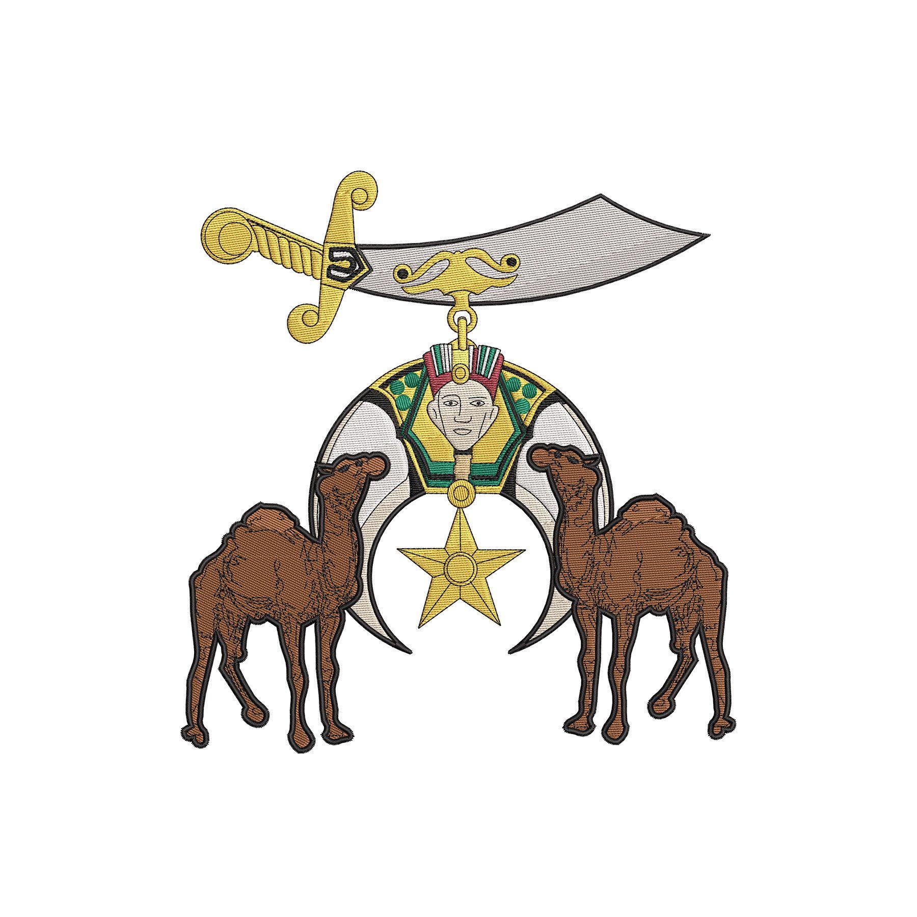 Shrine Emblem and Camels - Digital Embroidery Design