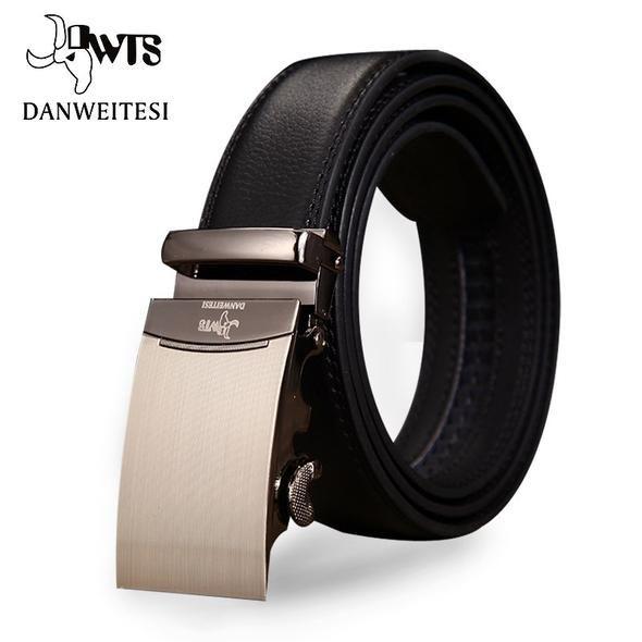 DWTS  2018 Mens Fashion Genuine Leather Famous Brand Men Belt silver Gold Automatic  Buckle Luxury Black Strap Designer belt a4c16d2a2d9