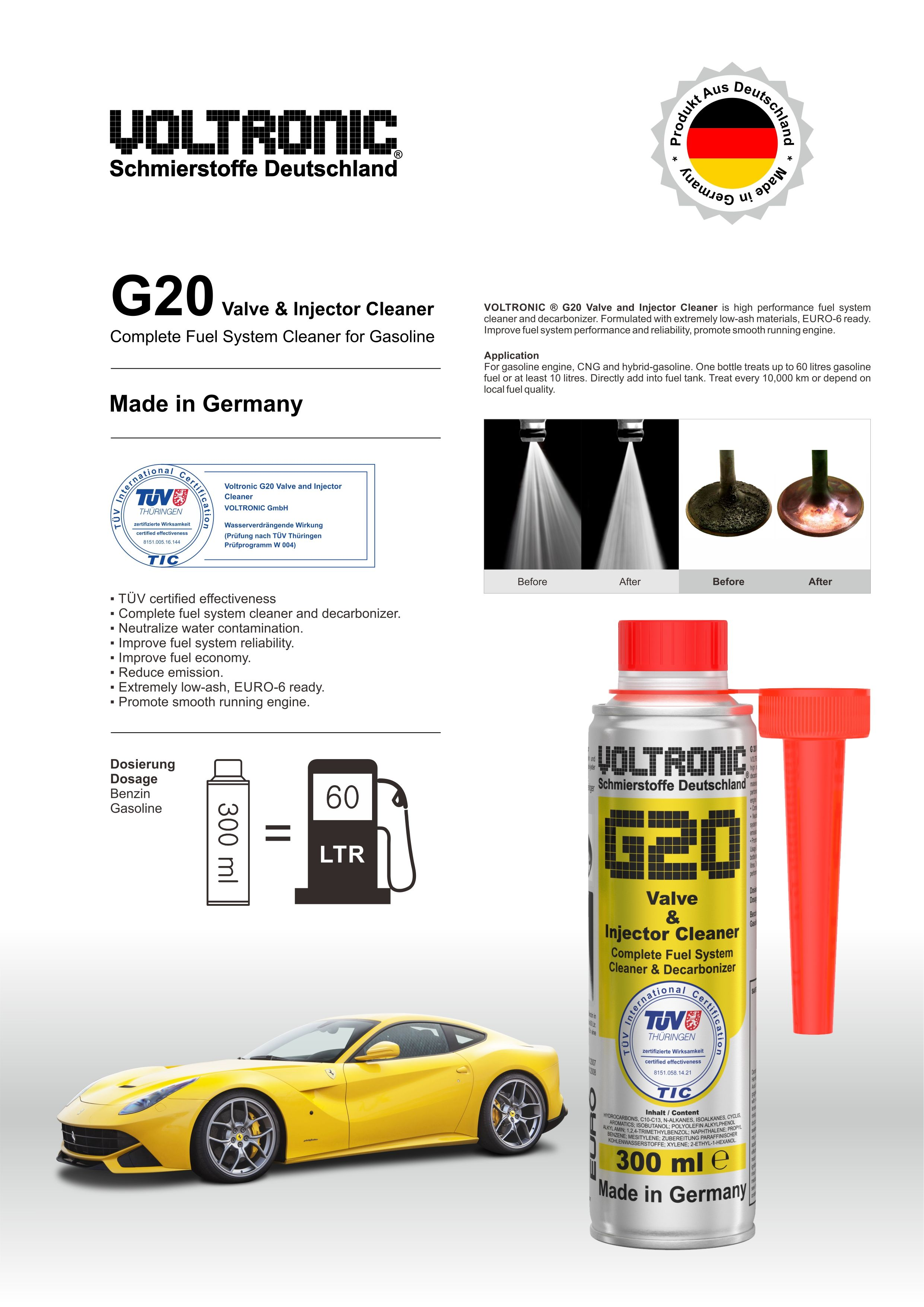VOLTRONIC G20 Valve and Injector Cleaner, complete fuel