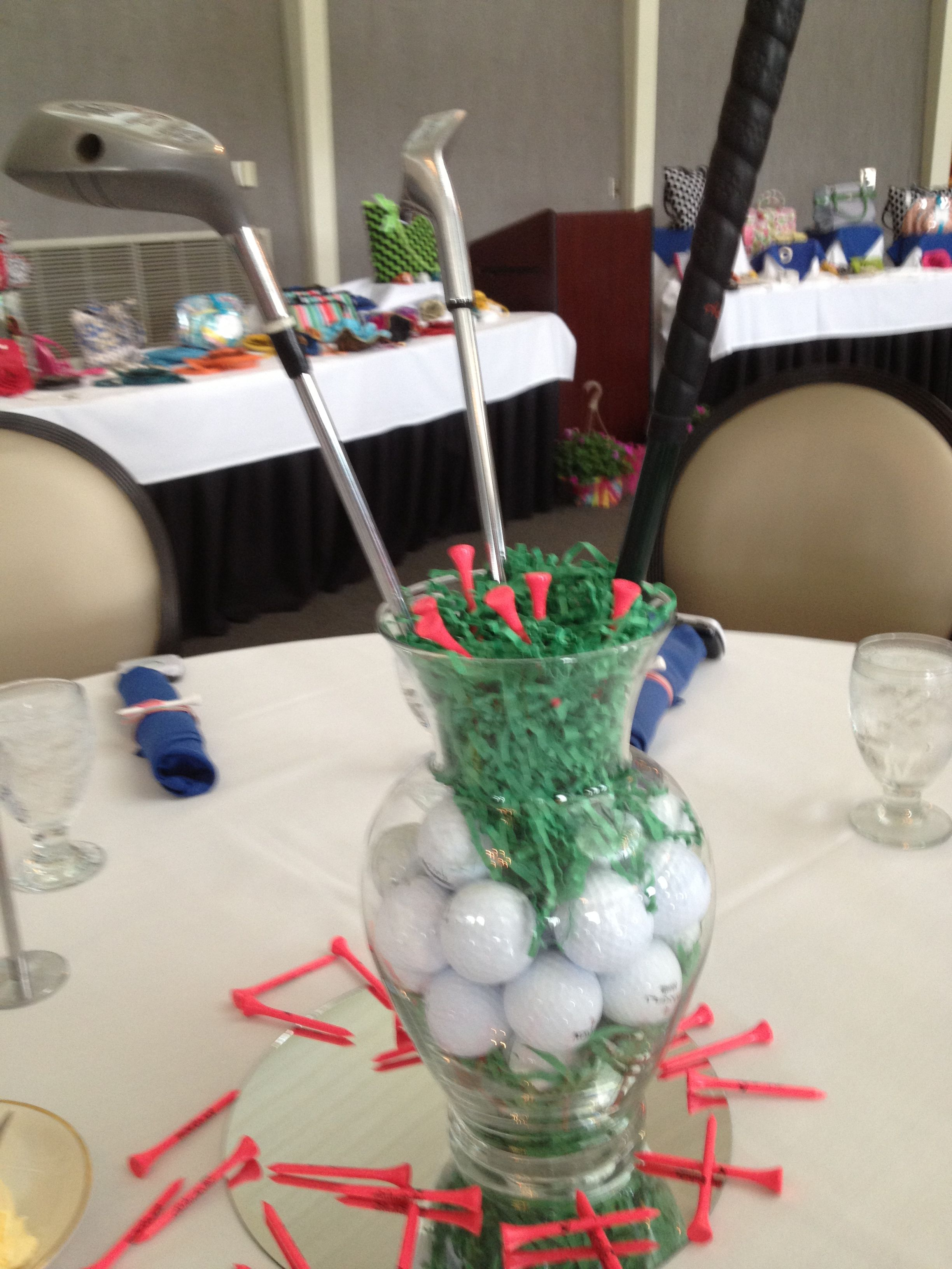 chix with stix golf centerpiece for golf outing tablescapes and rh pinterest com