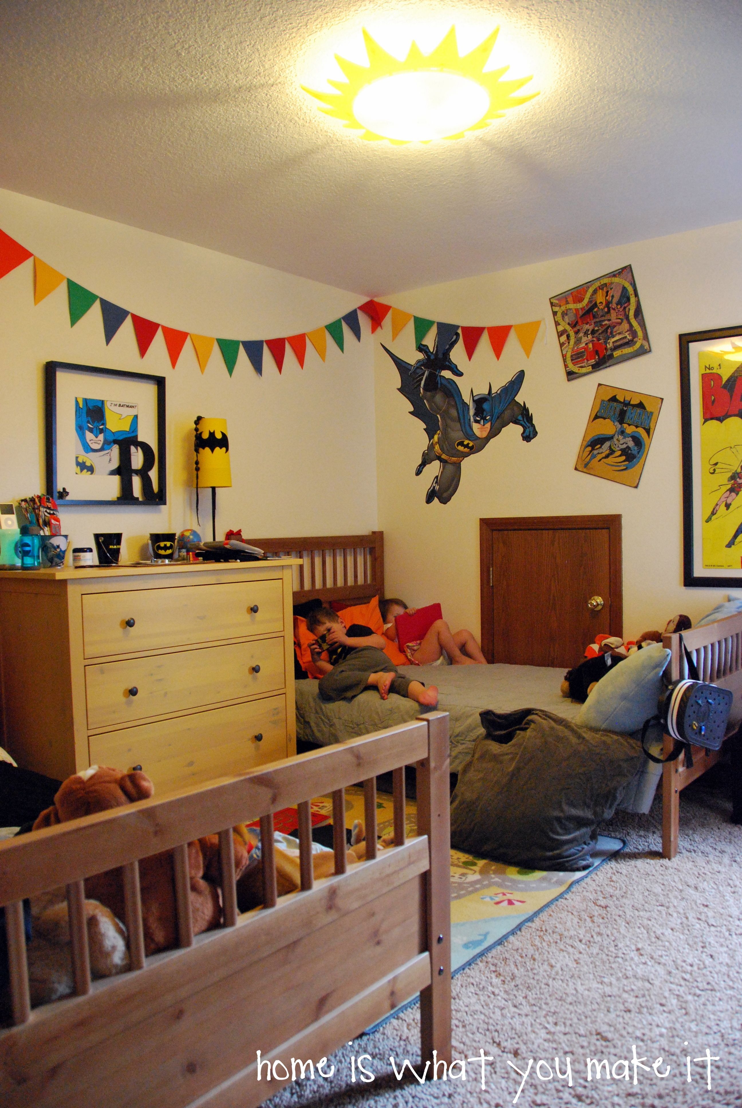 Boys Batman Room With Twin Beds And Dresser From Ikea