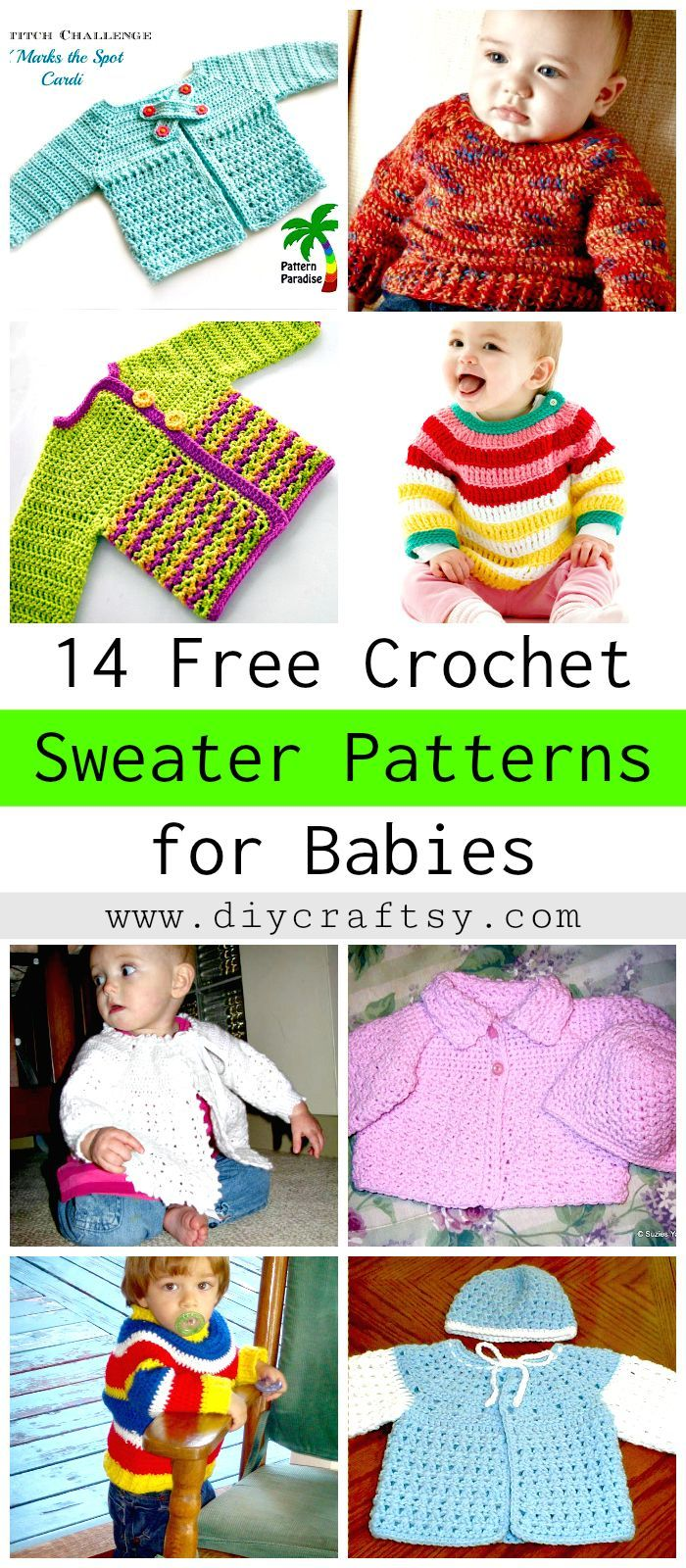 f440f843a 14 Free Crochet Sweater Patterns for Babies - DIY   Crafts