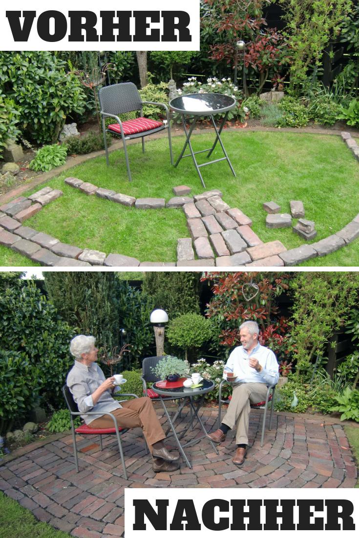 Eine Kleine Terrasse Muss Nicht Immer Viel Kosten Dieses Exemplar Haben Wir Zu 100 Auf Recycelten Steinen Gebaut Un Kleine Terrasse Garten Pflaster Garten
